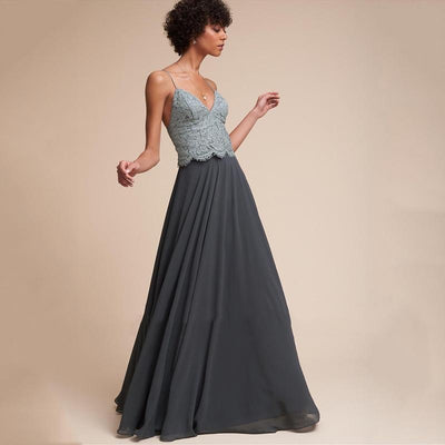 Grey Boho Long Skirt Ladylike