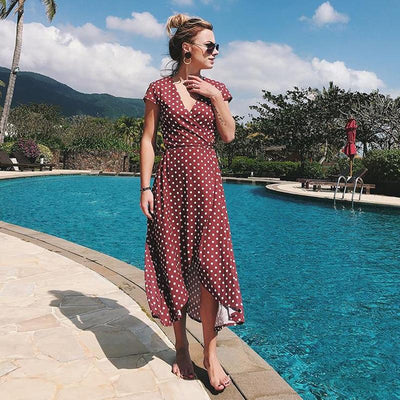 Boho Long Dress With Polka Dots 1 low price