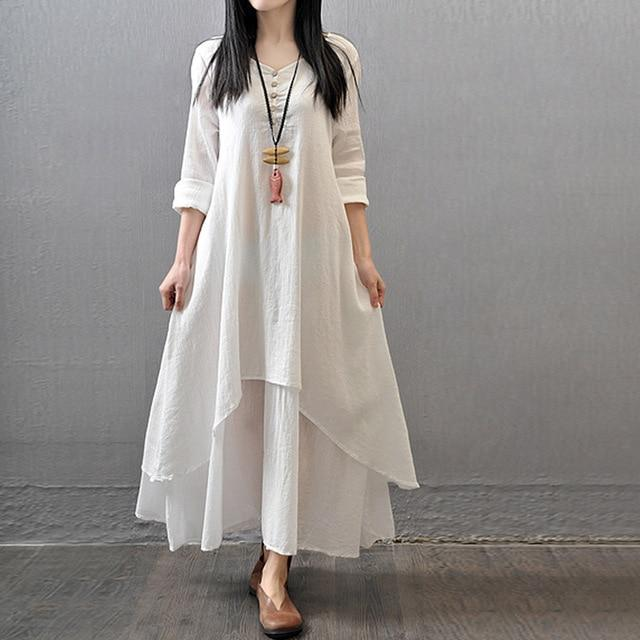 Long White Boho Cotton Dress cheap