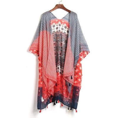 Boho Blouse In Red chaming