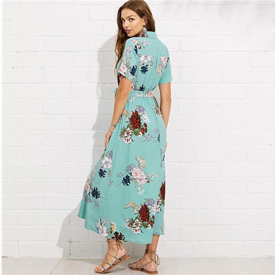 Boho Long Dress Br Turquoise best