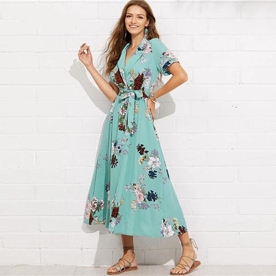 Boho Long Dress Br Turquoise women