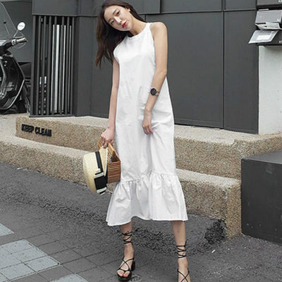 Long White Boho Flowing Dress beautiful