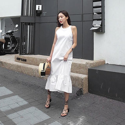 Long White Boho Flowing Dress finely tailored
