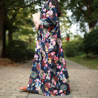 Maxi Long Dress With Flowers Boho Style hippie