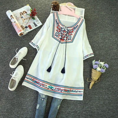 Embroidered Full Boho Tunic boho chic