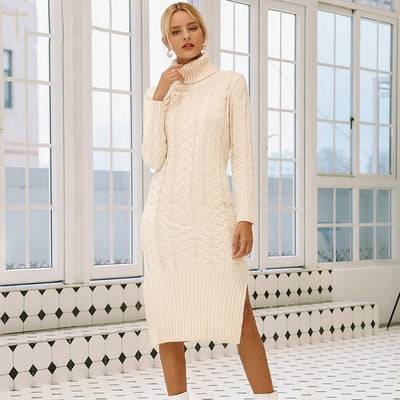 Long White Winter Boho Dress Ladylike