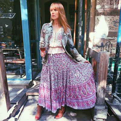 Pink Boho Long Skirt best