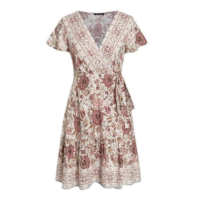 Flowery Boho Short Dresses low price