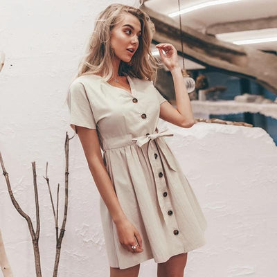 Beige Boho Short Dress And Button cheap