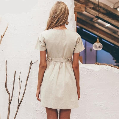Beige Boho Short Dress And Button bohemian life