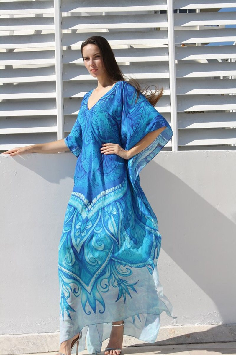Boho Long Dress Ocean Blue luxury