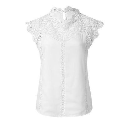 White Blouse Boho Lace finely tailored