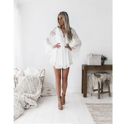 White Boho Short Dress And Lace finely tailored