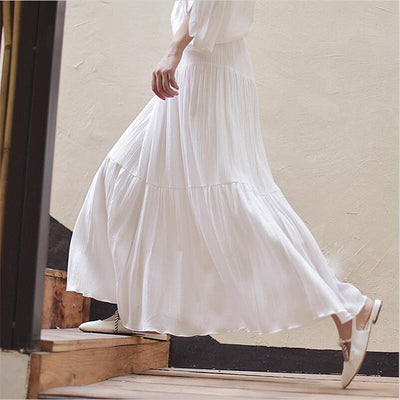 White Boho Long Skirt finely tailored