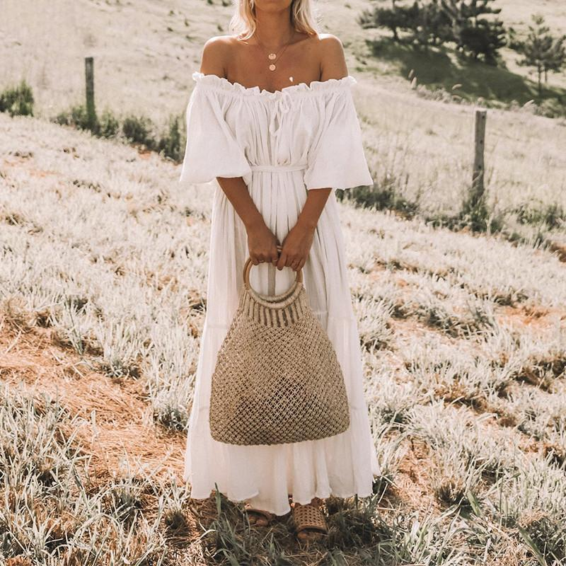 Long White Dress With Boho Denudees Shoulders