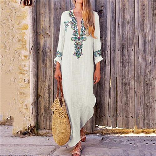 White Flowing Long Boho Dress Ladylike