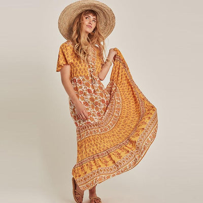 Yellow Long Boho Dress style
