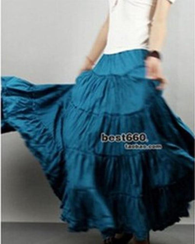 Boho Long Skirt In Pleated Chiffon style