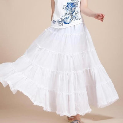 Boho Long Skirt In Pleated Chiffon chic