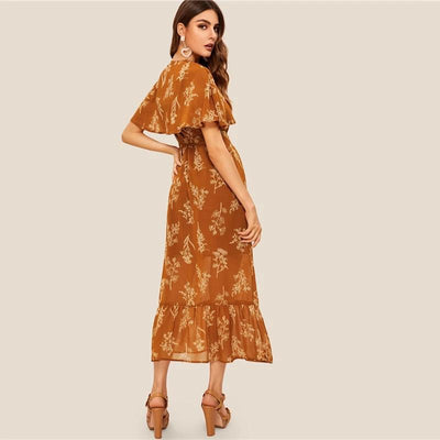 Boho Long Brown Dress