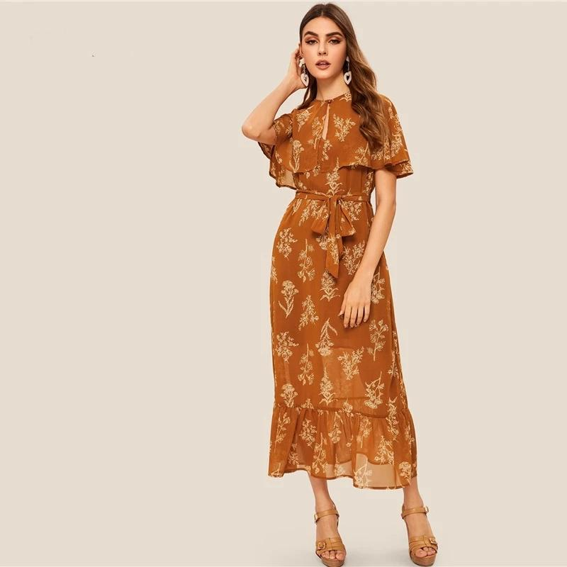 Boho Long Brown Dress chic