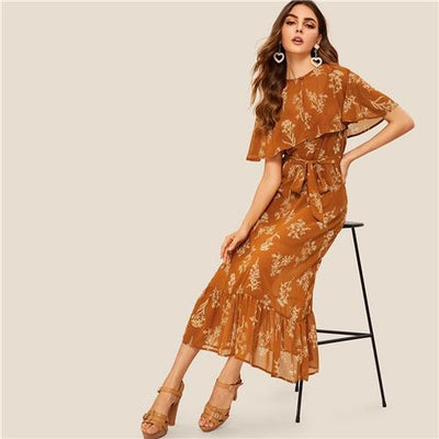 Boho Long Brown Dress 2019