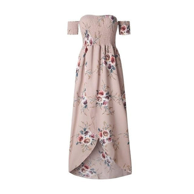 Long Boho Strapless Flowery Dress boho chic
