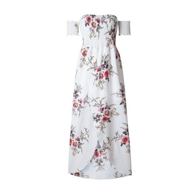 Long Boho Strapless Flowery Dress style