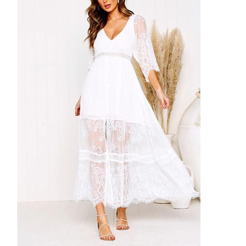 Boho Long Dress Chic Lace 2020