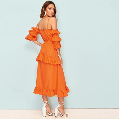 Boho Long Orange Dress style