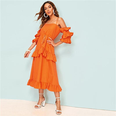 Boho Long Orange Dress cute