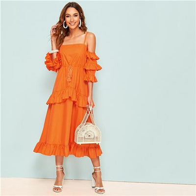 Boho Long Orange Dress low price