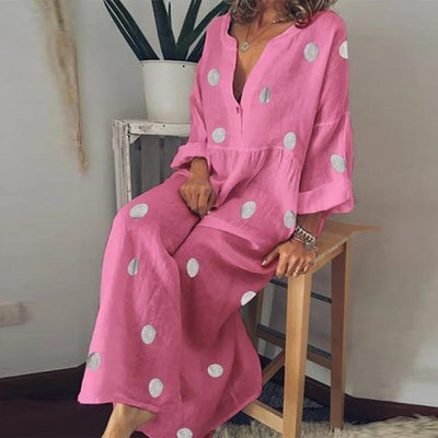 Boho Long Dress With Polka Dots women
