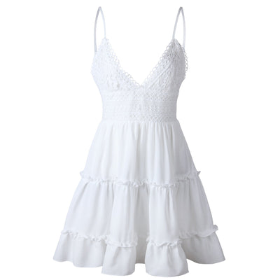 White Boho Short Dresses Chiffon Lace cheap