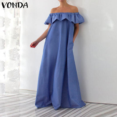Blue Boho Long Dress With Flounces boho