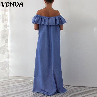 Blue Boho Long Dress With Flounces high quality