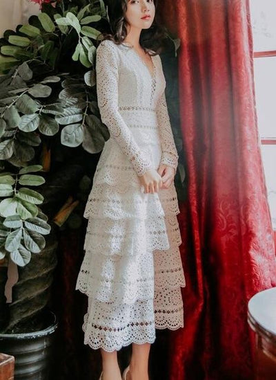 Boho Dress White Lace Long Sleeve 1 women