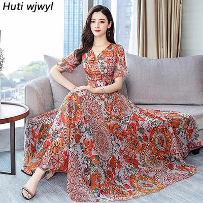 Boho Floral Long Dress finely tailored