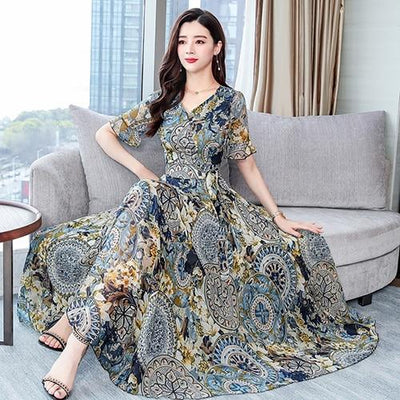 Boho Floral Long Dress chaming