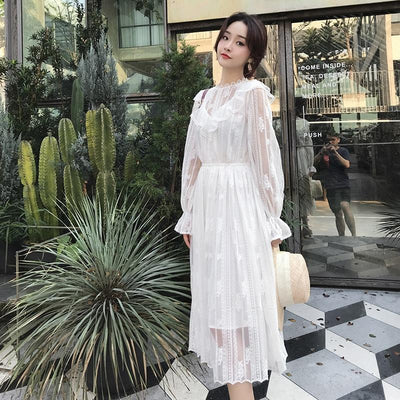 Boho White Lace Long Dress low price