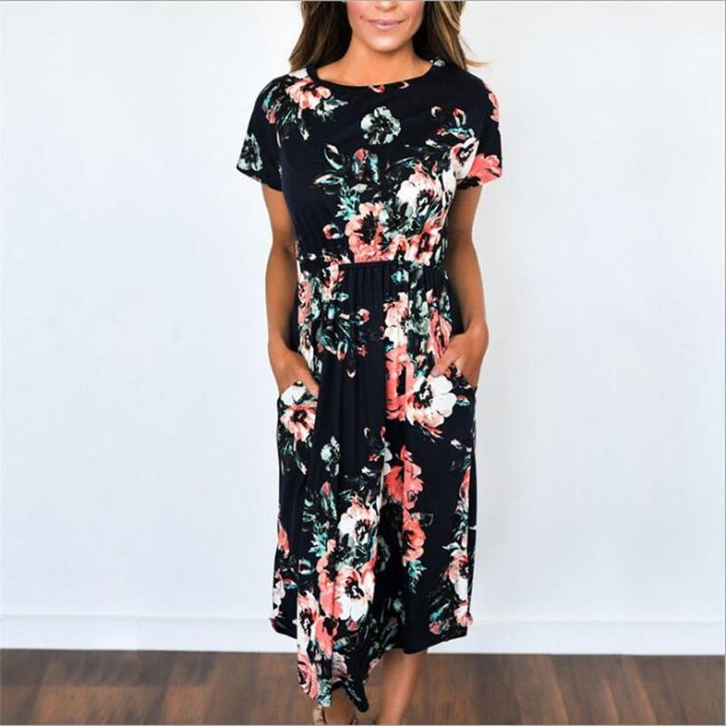 Black Boho Long Dress With Flowers chic