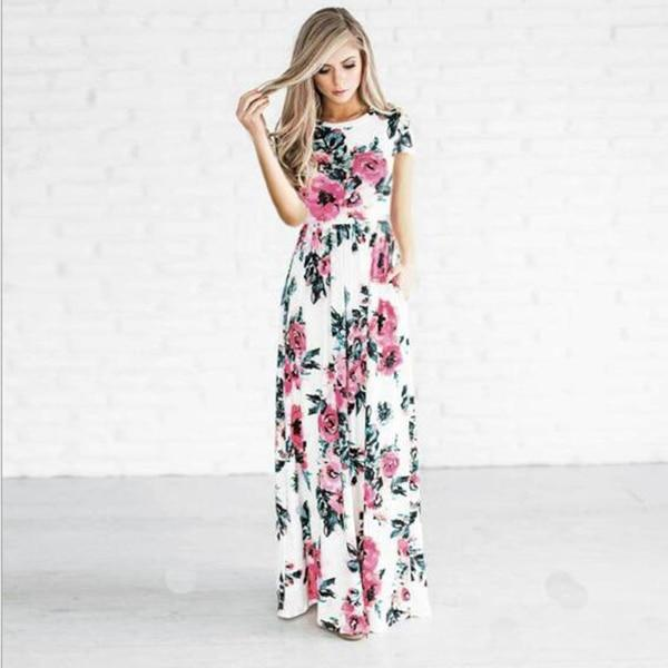 Long Flowery Boho Dress women