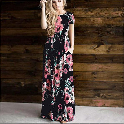 Black Boho Long Dress With Flowers review
