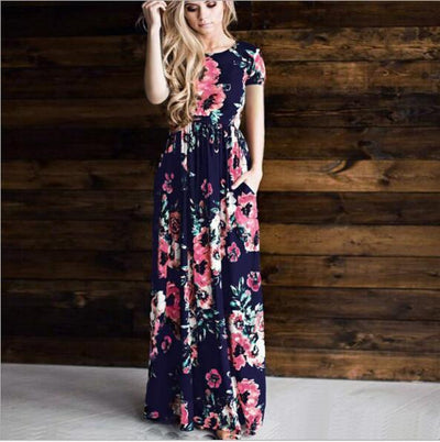 Boho Long Dresses Navy Blue Floral Long Dresses luxury