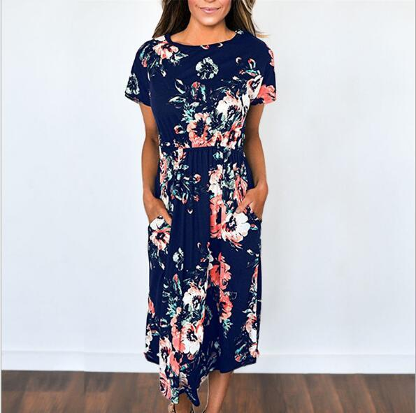 Boho Long Dresses Navy Blue Floral Long Dresses cute
