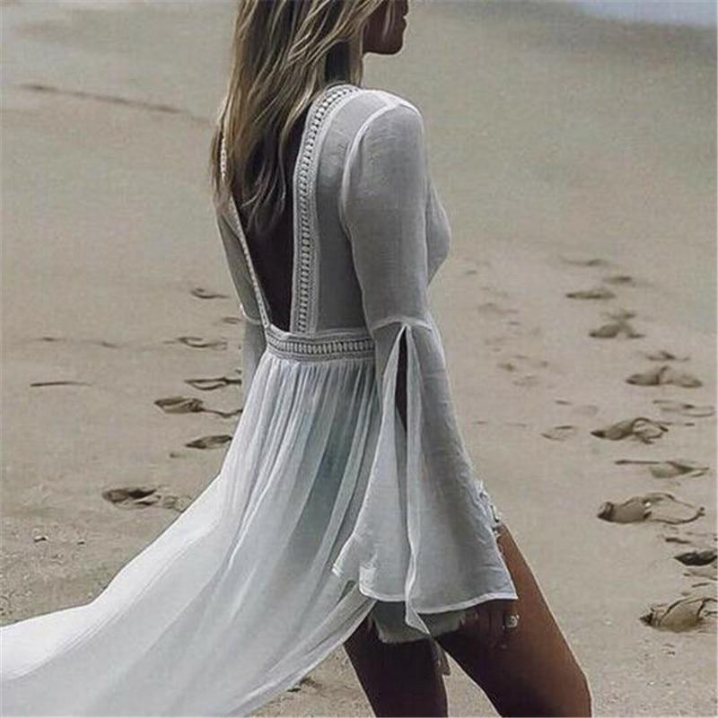 White Boho Summer Long Dress finely tailored