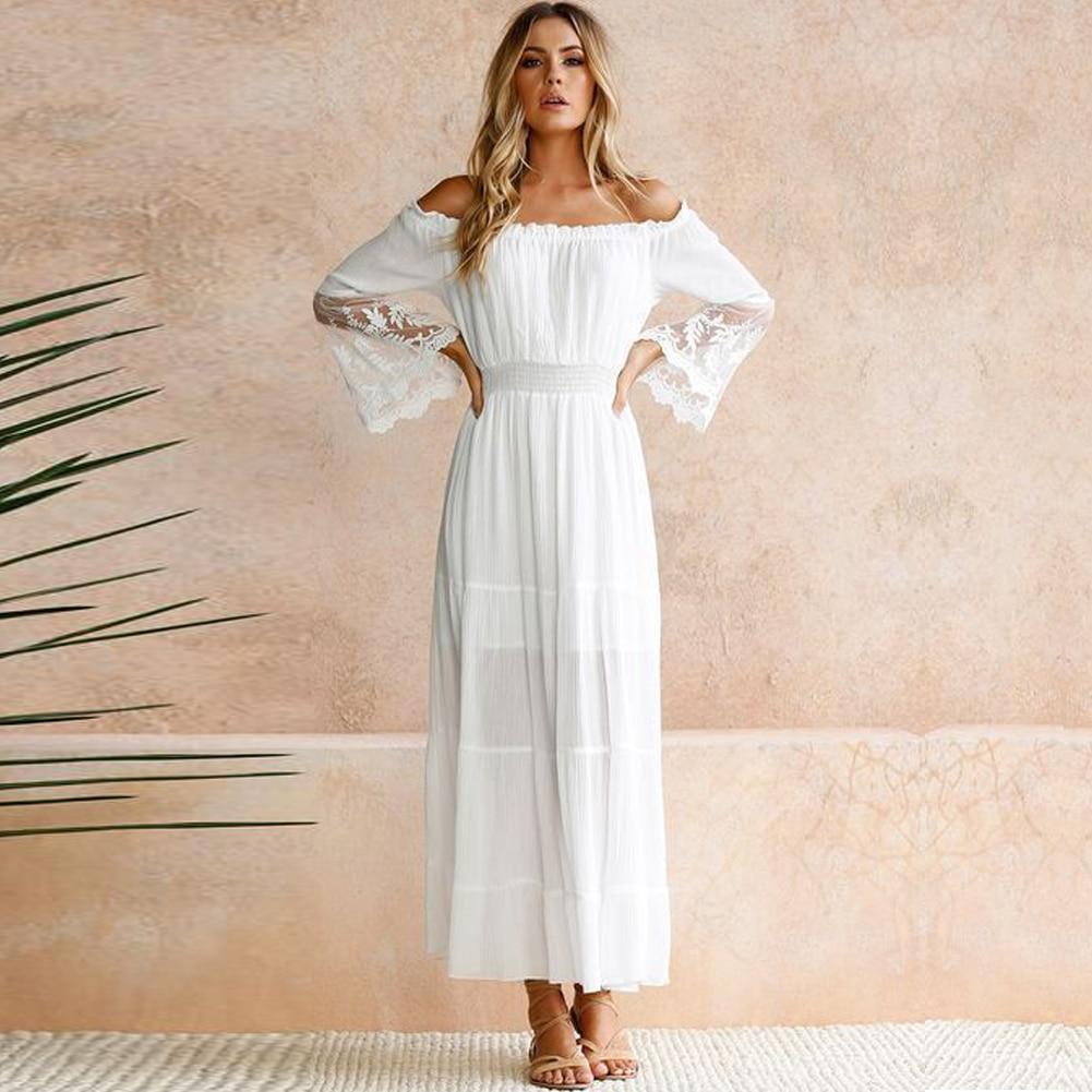 White Boho Long Dress With Flounces trendy