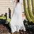 Maxi Boho White Dress women