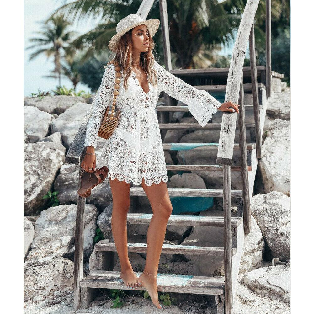 White Boho Short Dresses Lace Ladylike